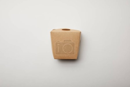 Photo for Flay lay with noodle box on white surface, minimalistic concept - Royalty Free Image