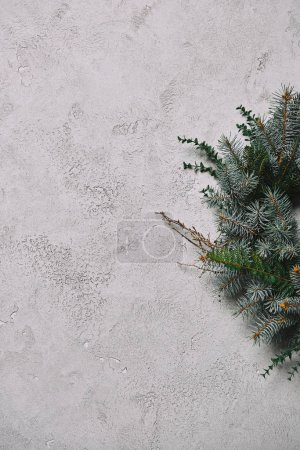 Photo for Cropped image of fir wreath for Christmas decoration hanging on grey concrete wall in room - Royalty Free Image