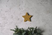 Christmas golden star hanging on grey wall above christmas tree in room