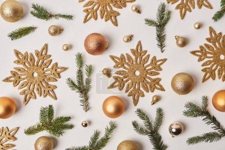 Photo for Top view of golden Christmas decoration isolated on white - Royalty Free Image