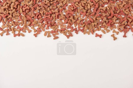 elevated view of pile of pet food on white surface