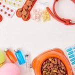 Flat lay with dog collar, various pills, balls and...