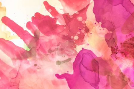 violet and red splashes of alcohol inks as abstract wallpaper
