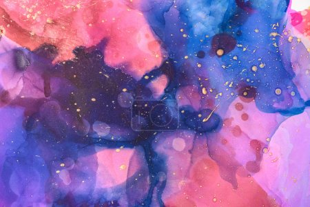 abstract blue, red and violet splashes of alcohol inks