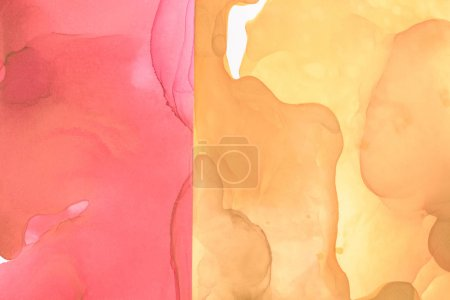Photo for Red and yellow splashes of alcohol inks as abstract background - Royalty Free Image