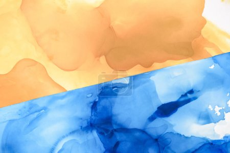 Photo for Beautiful blue and brown splashes of alcohol inks as abstract background - Royalty Free Image