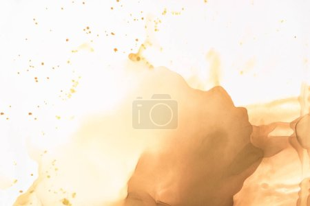 Photo for Brown splashes of alcohol ink on white as abstract background - Royalty Free Image