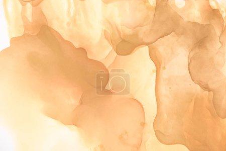 Photo pour Éclaboussures beiges d'encre d'alcool comme fond abstrait - image libre de droit