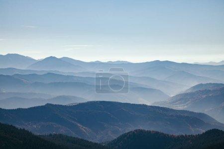 aerial view of scenic hazy mountains landscape, Carpathians, Ukraine