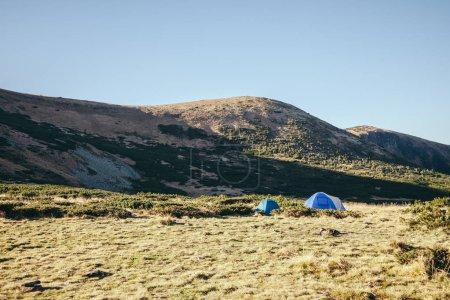 camping tents in beautiful mountains, Carpathians, Ukraine