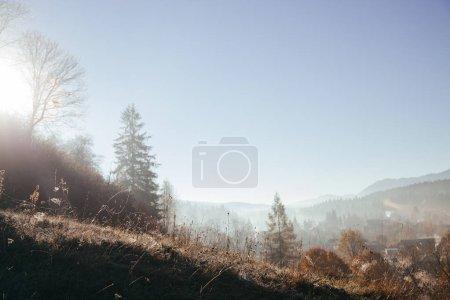 scenic Carpathians and Vorokhta town on sunny day, Ukraine