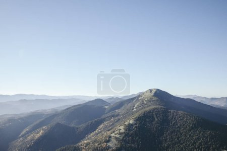 Photo for Beautiful foggy mountains landscape, Carpathians, Ukraine - Royalty Free Image