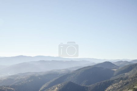 beautiful hazy mountains landscape, Carpathians, Ukraine