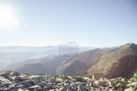 beautiful mountains landscape under sunlight, Carpathians, Ukraine