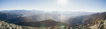 Photo for Panoramic view of beautiful mountains landscape under sunlight, Carpathians, Ukraine - Royalty Free Image