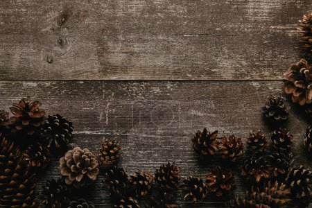 flat lay with arrangement of pine cones on dark wooden tabletop