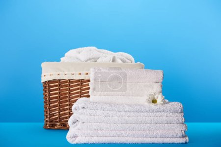 close-up view of white clean towels with chamomile flower and laundry basket on blue
