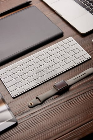 close-up shot of various devices on graphics designer workplace
