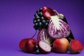 """Постер, картина, фотообои """"нарезанный капуста, лук, свекла, виноград, яблоко и баклажанов или фиолетовый"""""""