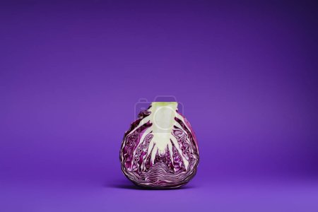 close-up view of fresh ripe organic sliced purple cabbage on violet background