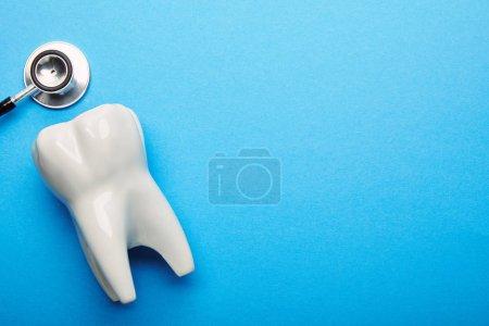 Photo pour Vue du dessus du stéthoscope et du modèle de dent blanche sur fond bleu - image libre de droit