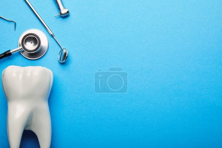 flat lay with tooth model, stethoscope and sterile dental instruments arranged on blue backdrop