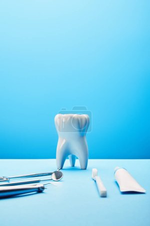 close up view of white tooth model, toothbrush, toothpaste and stainless dental instruments on blue backdrop