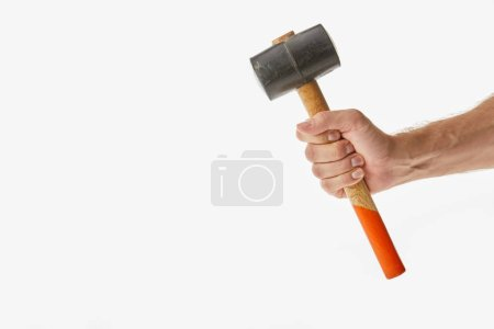 Partial view of man holding mallet isolated on white