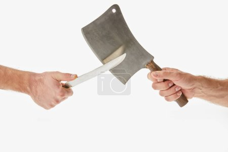 Partial view of men holding and sharpening knifes isolated on white