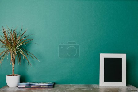 Photo for Plants, photo frame and journals on green background - Royalty Free Image