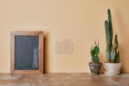 Photo for Cactuses and wooden photo frame on dusty table on beige background - Royalty Free Image