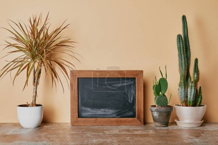 Photo for Empty photo frame and different plants on beige background - Royalty Free Image