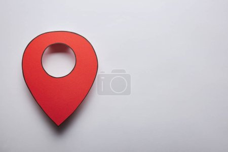 red geolocation icon on grey background