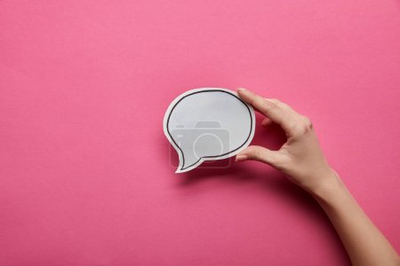 Photo for Top view of empty white speech bubble on pink background - Royalty Free Image