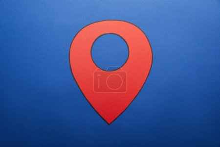 red geolocation drawing on blue background