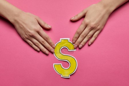 top view of hands holding dollar sign on pink background