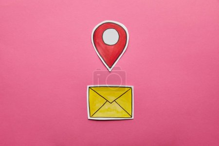 yellow mail sign with red geolocation on pink background