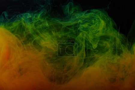 texture with abstract green and orange swirls of paint