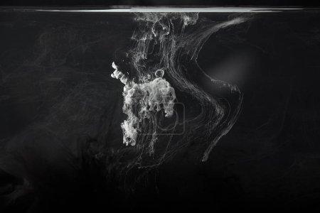 abstract splash of grey acrylic paint on black background