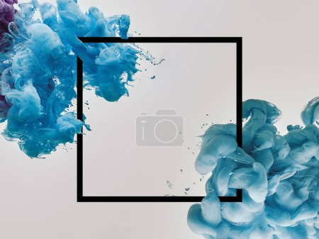 Photo for Blue splashes of paint with square frame on white background - Royalty Free Image