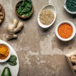 Flat lay of spices, legumes, superfoods and nuts o...