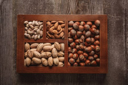top view of assortment of various nuts in box on wooden background