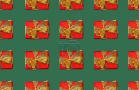 Photo for Christmas seamless background with red gift boxes with bows - Royalty Free Image