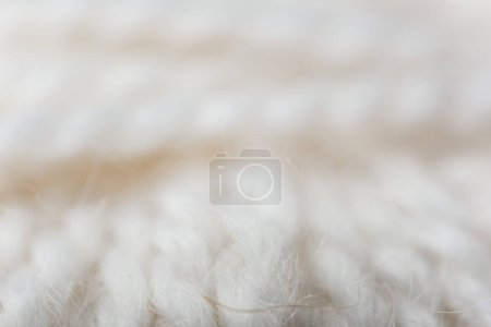 Photo for Full frame of white knitting texture as backdrop - Royalty Free Image