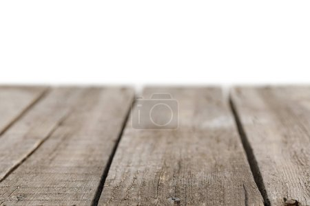 selective focus of grey striped wooden background on white