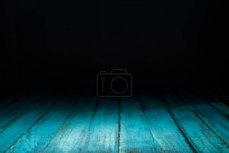 Photo for Turquoise striped wooden background on black - Royalty Free Image