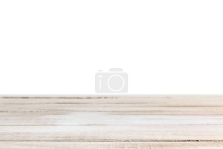 Photo for Light brown striped wooden background on white - Royalty Free Image