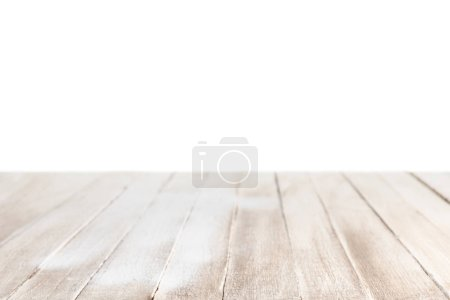 Photo for Light brown striped wooden tabletop on white - Royalty Free Image