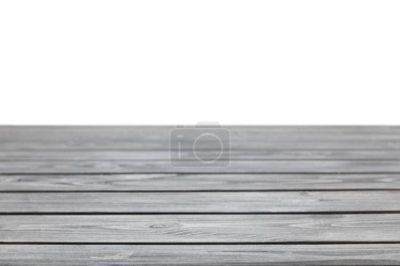 Photo for Grey striped wooden table on white - Royalty Free Image