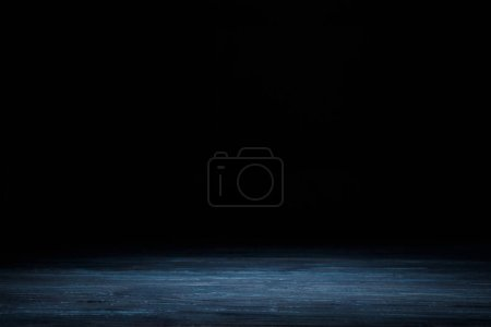 Photo for Dark blue striped wooden background on black - Royalty Free Image